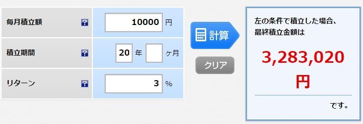 月1万円で20年