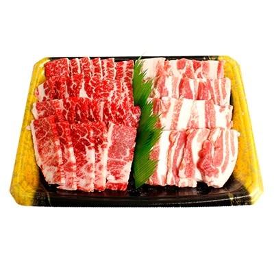 かながわブランド「足柄牛」上カルビ400gと、やまゆりポークバラカルビ400gの焼肉盛り合わせ