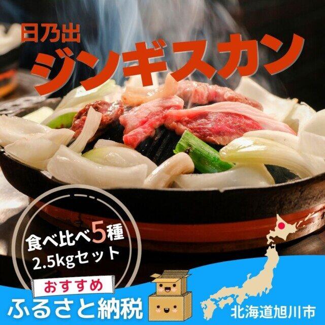 北海道旭川市のふるさと納税人気返礼品1位 日乃出ジンギスカン食べ比べ5種【2.5kg】セット