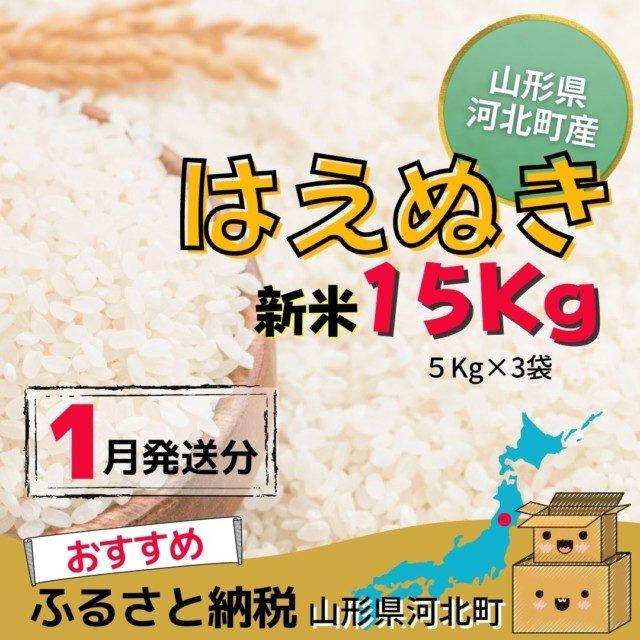 山形県河北町のふるさと納税7位 はえぬき15kg【1月発送分】