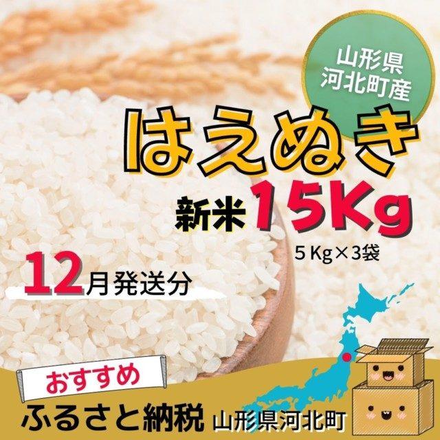 山形県河北町のふるさと納税2位 はえぬき15kg【12月発送分】